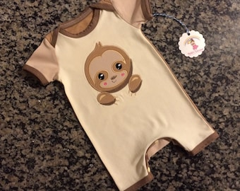 sloth baby romper- sloth clothes - baby romper - baby sloth applique- ready to ship sloth- Nickisrainbow- 6 months- sloth romper 6 month
