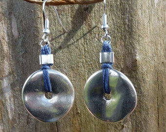 Earrings rondelle silver plated and cotton grey blue wax
