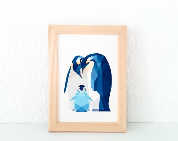 Penguin nursery print, Penguin baby art, Nursery decor, Animal family art, Baby nursery wall art, Baby animals, Arctic animals, New baby art