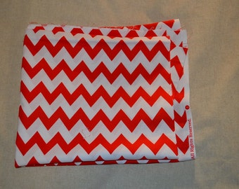 Destash- Red and White Chevron Cotton Fabric Remnant For Quilting Or Crafting