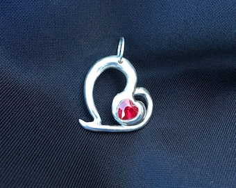 Precious metal clay 960 Sterling Silver heart with a CZ hessonite heart
