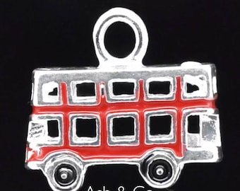 Vintage 3 D London red bus, silver plated charm. X1