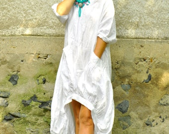 White 100% linen dress/Maxi Dress/White linen tunic/extravagant linen dress/New fashion trend/Dress with pockets/Maxi loose dress//D0209