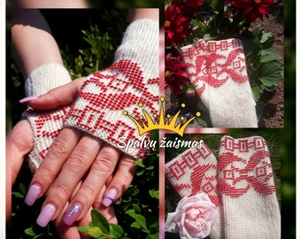 Beautiful White Merino Wool Wrist Warmers / fingerless gloves with red Czech beads and with traditional Lithuanian ornaments