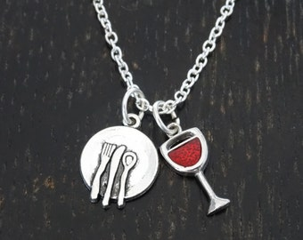 Wine and Dine Necklace, Wine and Dine Charm, Wine and Dine Pendant, Wine and Dine Jewelry, Wine Necklace, Wine Charm, Wine Pendant,Wine Gift