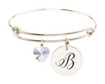 Initial Bangle made with Crystals from Swarovski - B - SWABANGLE-RGD-AB-B - Gold