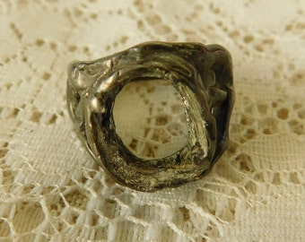 Brutalist Ring, Brutalist Jewelry, Sterling Ring, Wild Crafting, Silver Jewelry, Silver Ring, Handmade Ring, 1960's Ring