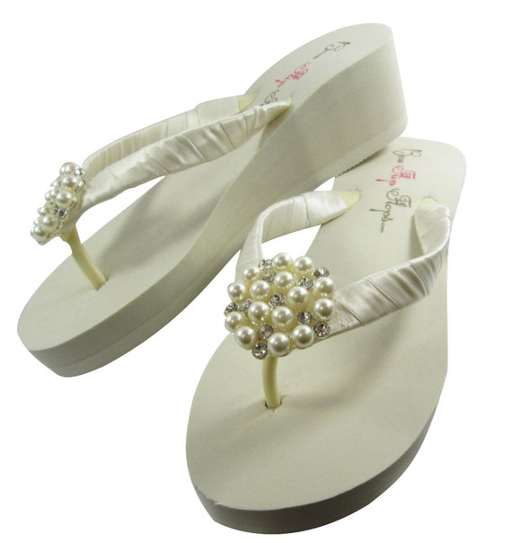 bridesmaids heel wedge Vintage 3 Flip Flower ivory Choose bride height Flop Sandals Wedding White inch 5 fCwwZF