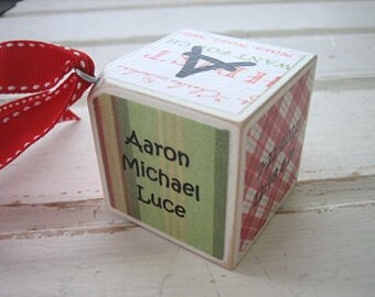 Farmhouse Christmas Around the Block - Personalized Wooden Block Christmas Ornament