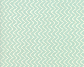Coney Island Fabric Aqua Fig Tree Fabric Aqua Chevron Quilting Fabric By The 1/2 Yard