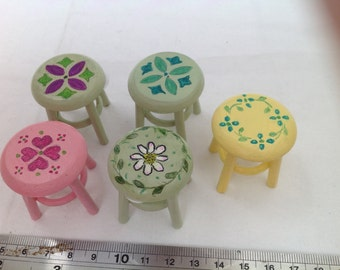 Dolls House Miniatures - 1/12th Hand Painted Stool (5 designs)
