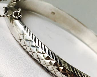 Vintage 925 sterling Silver Faceted Bangle Bracelet 7.6g 9mm 7 1/4 inches
