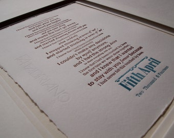 Print Wedding vows custom order bespoke personalised Anniversary gift