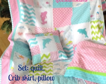 Dolphin Mermaid Quilt/Pink and Aqua Sealife Quilt/Dolphins