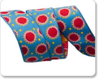 "JANE SASSAMAN 7/8"" ribbon--Blue/Red Dotty--price is per yard"