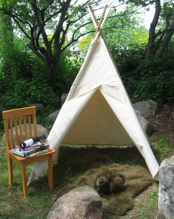 Kids Canvas Teepee Tent Two Sizes Available Many Color Choices Can Include a Window Custom Order 6 Foot Poles Included & Kids Canvas Teepee Tent Two Sizes Available Many Color