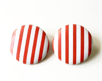 Vintage Large Red and White Striped Pinup Earrings