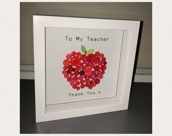 Typography Print - Teacher Thank you Apple