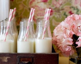 Vintage glass milk bottle hire x 40