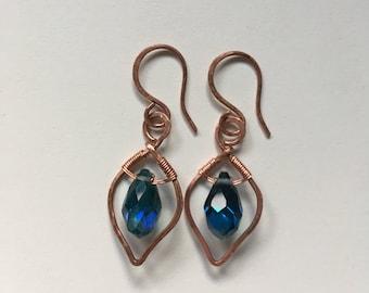 Copper Earrings, Copper Leaf Earrings, Gift for Her, Copper Jewellery, Dangle Earrings, Handmade Earrings, Hammered Copper Earrings