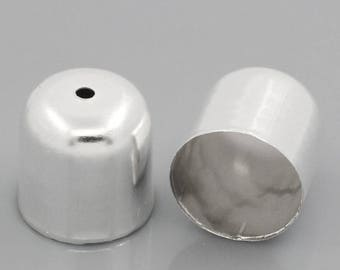 Set of 10 tips Bell 6 x 5 mm silver