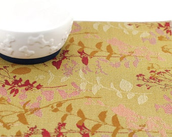 Pet Placemat, Small 12x18, Waterproof, Dog Food Mat, Cat Food Mat, Splat Mat, Stain Resistant Mat, No Mess Mat, Durable, Beige Leaf Stems