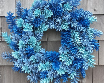 Blue Pinecone Wreath