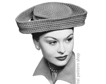 1940s Vintage Hat Pattern Wide Brim Hat Crochet Pattern Womens Dramatic Rococo Hat Instant Download PDF Pattern - C198