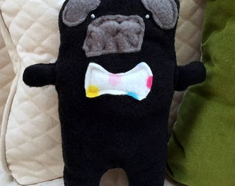 Oliver~ The Black Pug Bow Tie Bummlie ~ Stuffing Free Dog Toy ~ Ready To Ship Today - Polka Dot Bow Tie