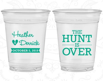 The Hunt is Over Wedding, Promotional Soft Plastic Cups, Disposable Cups (27)