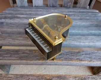"Vintage Sankyo Baby Grand Piano Music Box Sankyo Japan Mechanism Plays Carpenters Grammy Award ""We've Only Just Begun"" Made in Hong Kong"