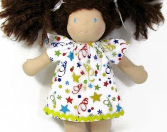 10 inch 12 inch Waldorf Dress, Doll Party Dress, Handmade Doll Dress,  cotton doll dress, 10 in doll clothes, soft doll dress