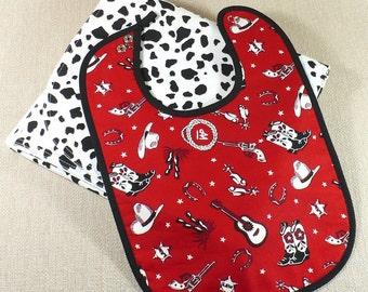 Baby Blanket and Bib, Baby Gift Set, Western blanket, Red, Black, White, Gender Neutral Baby Gift, baby bib, 100% cotton, cowprint