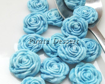 BLUE FONDANT ROSES  Cupcake Toppers -Sugar flowers- half inch Blue Roses - Edible cake decorations -  Flower cupcakes (Blue) (12 Pieces)