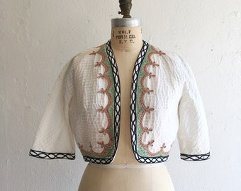 Black & white summer bolero * Vintage 1950s cropped lightweight jacket * 50s cotton soutache bolero