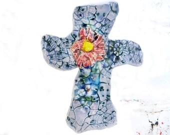 Handmade ceramic wall cross - OOAK Wall Cross - Sculpture Ceramic Cross - Home Decor Cross - Cross for Wall - Decorated Art Wall Cross, # 64