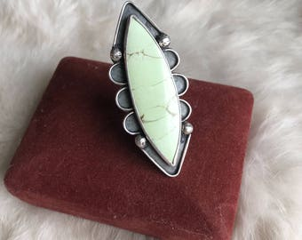 Lemon Chrysoprase and Sterling Silver Statement Ring Size 8