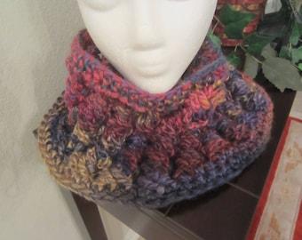 Crochet Multi Color Thick Cowl