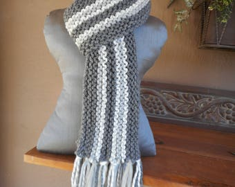 Hand Knit Scarf  Hand Knitted Scarf Long Scarf