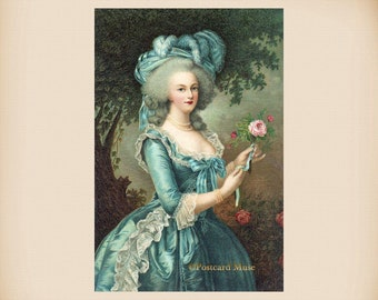 Marie Antoinette With A Rose New 4x6 Photo Print From A Vintage Postcard IL56