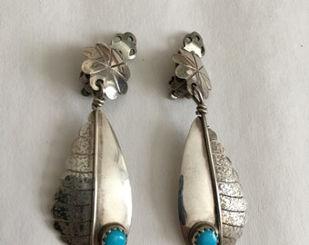 Native American Earrings Sterling Silver Feather Turquoise clip on vintage
