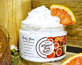 Whipped Body Butter | Organic Body Creme | Sensative Skin Friendly | Firming Anti-Cellulite | Shea /Mango Butter | Grapefruit E.O|8oz & 12oz