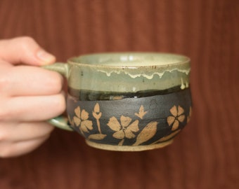 In Bloom - Green Drippy Ceramic Mug - Handmade - Pottery