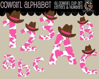 Digital Alphabet Clipart Cowgirl Alphabet Letters Digital Numbers Printable Alphabet Letters Alphabet Digital Letters - Instant Download