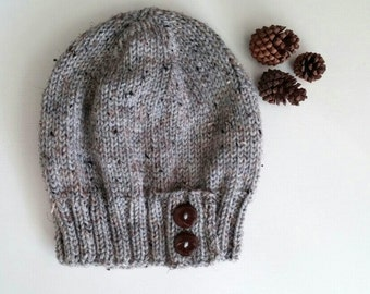 Knit slouchy hat with button/s - MARBLE GRAY (more colors available - made to order)