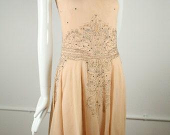 1920s Peach Art Deco Dress