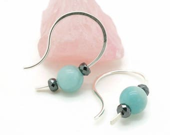Amazonite earrings, Boho gypsy earrings, Light blue earrings, Hematite earrings, Sterling silver earrings