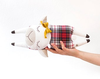 Flying Cow, Bull, Plush for babies, Small Pillow, Design Object - Handmade in Italy, Original Design, Birth Gift, Children Toy