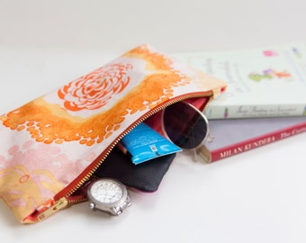 Diaper Clutch. Beach Clutch. Cosmetic Bag. Toiletry Bag. Sunny Flowers, and Coral Inisde.