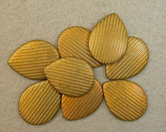 Vintage Brass STAMPINGS TEARDROP New Old Stock Corrugated Vintage Jewelry Supply 21x15mm pkg8 m89